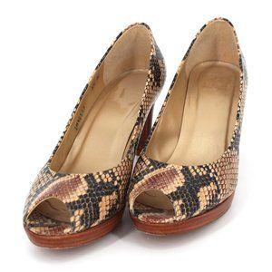 Stuart Weitzman Snakeskin Peep Toe Pumps Heels 9.5